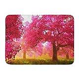 神秘的な桜日本庭園漫画屋内屋外ドアマットラグフロアマット滑り止め寝室用バスルームリビングルームキッチン23.6×15.7インチ家の装飾