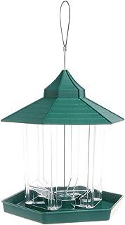 POPETPOP - Comedero para pájaros con Forma de casa Transparente, Bandeja extraíble con Orificios de Drenaje (Verde)