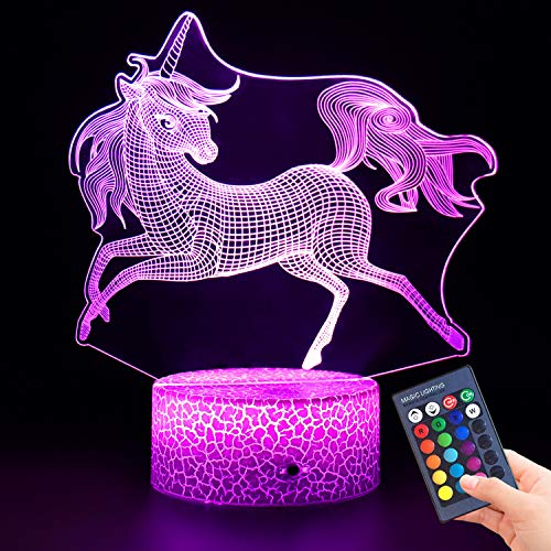 Unicorn 3D Night Light for Kids,3D Lamp Optical Illusion with Remote Control&Smart Touch 7 Colors 16 Colors Changing Unicorn Toys 10 9 3 5 2 8 1 7 6 4 Year Old Girl Gifts