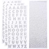 Alphabet Stickers and Rhinestone Stickers for Decoration and DIY Crafts, Glitter Alphabet Stickers for Kids, Teachers, Students. (Silver)