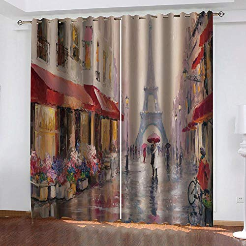 Awooaceo Living Room Curtains Bedroom Curtains Oil Painting Abstract Street Landscape 3D Curtains Beautiful Photo 300(W) X280(H) Cm -3D Curtains