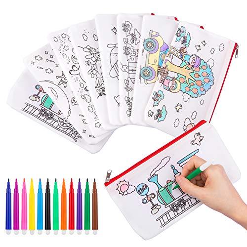 GWHOLE Bustine da Colorare Penna Colorata per Bambini, 8 Astucci da Colorare e 12 Colori Penne, Regalo per Bambini per le Feste e i Compleanni