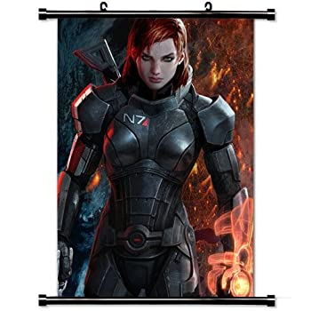 Wall Posters Wall Scroll Poster with Mass Effect Shepard Female Graphics Gun Home Decor Fabric Painting 23.6 X 35.4 Inch