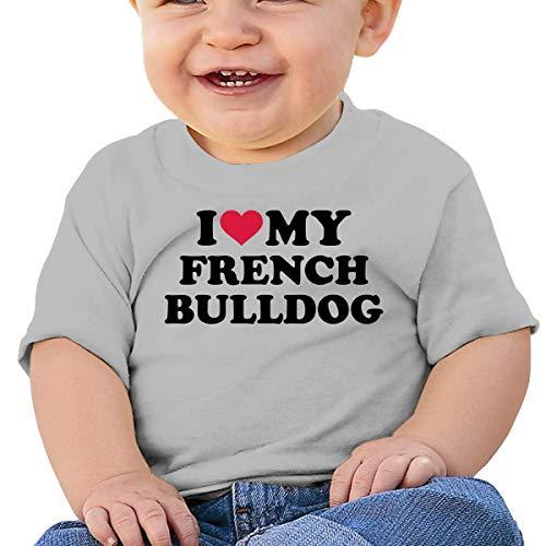 I Love My French Bulldog Toddler Baby Girl Boy Crew Neck Short Sleeve T-Shirt Tops Tee Clothes Gray