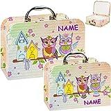 alles-meine.de GmbH Koffer / Kinderkoffer - MITTEL - lustige Eule & Blumen - incl. Name - 23 cm - ideal für Spielzeug und als Geldgeschenk - Mädchen & Jungen - Pappkoffer - Puppe..