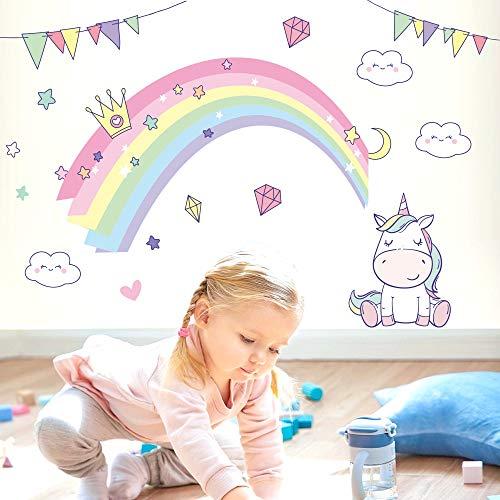 PMSMT Pegatinas de Pared para niños, Pegatinas de Princesa arcoíris de fantasía para jardín de Infantes, Dormitorio Familiar, Sala de Juguetes, decoración de Pared
