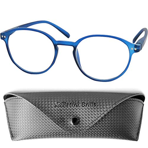 Klassieke Nerd Leesbril met Grote Ronde Lenzen, inclusief GRATIS Trendy Brillenkoker, Plastic Montuur (Blauw), Leeshulp Vrouwen en Mannen +1.5 Dioptrie