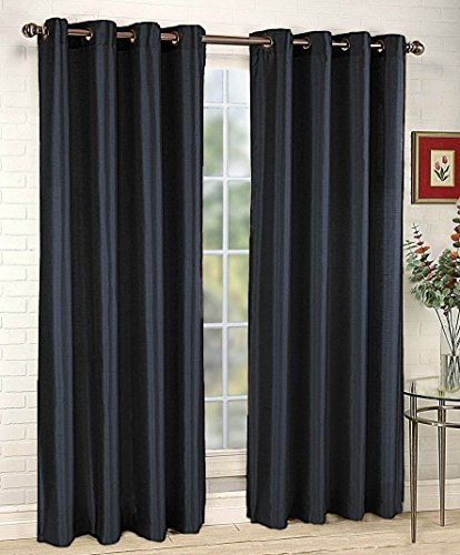 "LuxuryDiscounts 2 Piece Solid Black Faux Silk Grommet Window Curtain Treatment Panel Drapes 54"" By 84"""