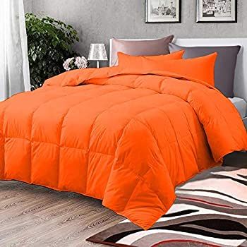 Comforter - All Season Orange Down Alternative Quilted Comforter - Corner Duvet Tabs - Plush Pure Cotton Fill Machine Washable - Duvet Insert Or Stand Alone Comforter - Twin/Twin XL  68X90