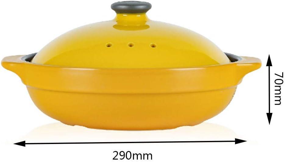YWYW Pot Fait à la Main avec Couvercle Casserole en céramique 1.6l High Temperature Hot Pot Clay Pot Soup Cuiseur Multifonction, Jaune Red