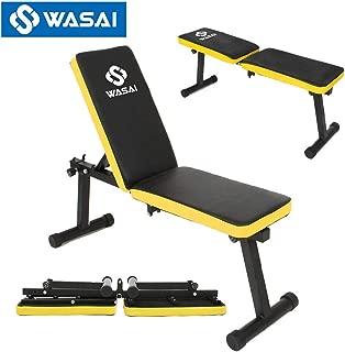 WASAI(ワサイ) インクラインベンチ フラットベンチ (耐荷重 180kg) ダンベルベンチ トレーニングベンチ 折りたたみ式 mk600