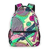 Judascepeda Sac à dos multi loisirs,Conception de balle de tennis de raquette col, sac d'école de sport de voyage pour les jeunes étudiants adultes