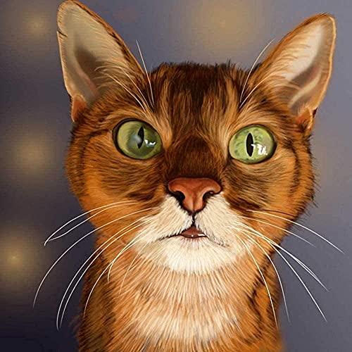 SHENM Home wallKit de punto de cruz de mosaico de diamantes lindo y curioso gato 5D Animal bordado de diamante regalo completo pintura del diamante decoración del hogar 40x50cm