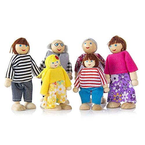 Diealles Muñecas de Familia Madera Juguetes, 6PCS Miembros de Familia Artesanal Juguete Regalo para Niños Regalo de la Casa del Juego