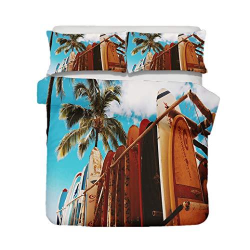 Sticker Superb Juego de Cama Cama Individual Microfibra 90 cm 3D Paisaje Natural Playa Patrón de Surf Funda Nórdica 180x210 cm con Funda de Almohada 50x75 cm (Style 3, 180x210 cm)