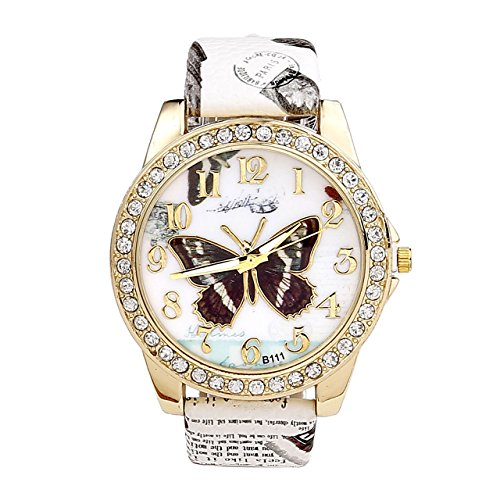 JSDDE Uhren,Oktoberfest Retro Damen Strass Armbanduhr Schmetterling Muster Elegant Analog Quarz Uhr, Weiss