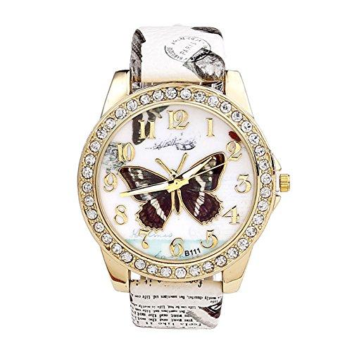JSDDE, orologio da polso Oktoberfest, in stile elegante e retrò, con strass e motivo di farfalla, movimento analogico al quarzo, colore bianco, da donna