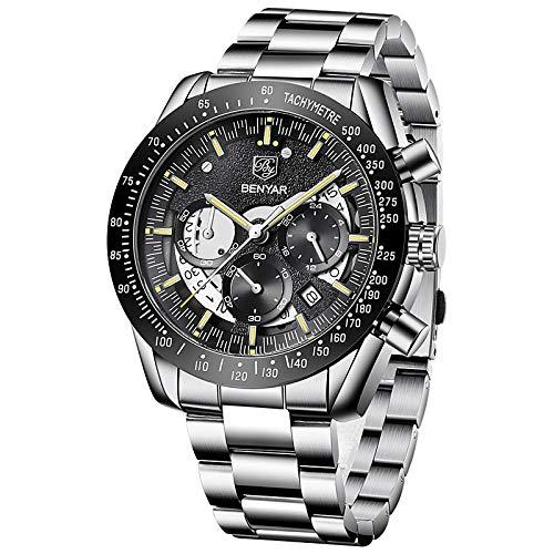 Relojes de Pulsera para Hombres Movimiento de Cuarzo cronógrafo analógico Negocios Deporte diseño Militar Reloj para Hombre 3amtwaterproof Elegante Regalos para Hombres