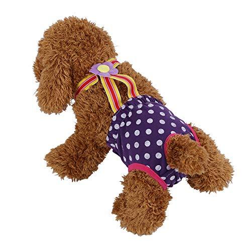HEEPDD Hunde päckchen mit Windel, lila waschbar, Wieder verwendbare Hunde Windeln Auslaufsichere Hygienehosen für Haustiere und Lange Reisen(S)
