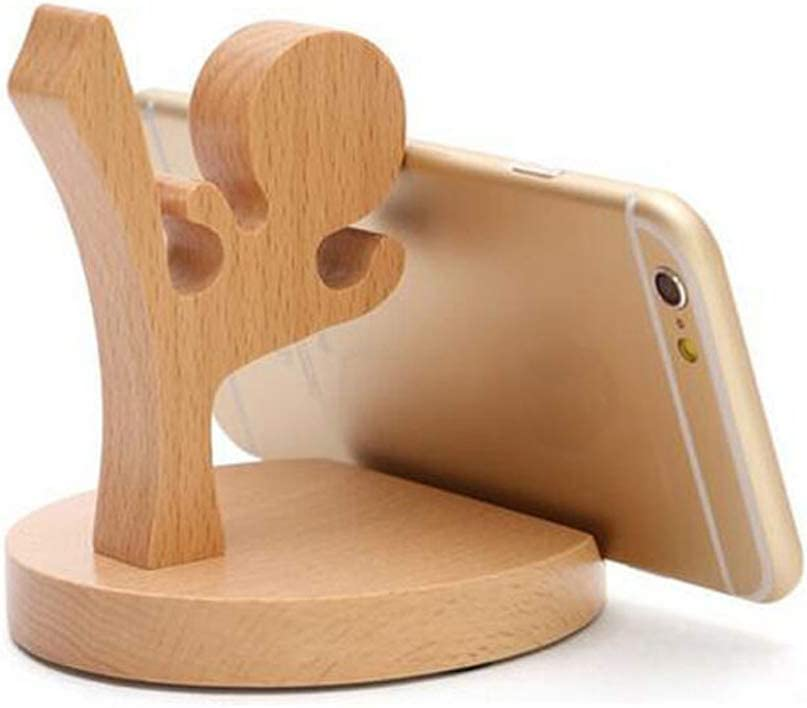 Kungfu Boy Great Gift for Families Business Friends Cute Cell Phone Stand 15 Piece MHKBD Wooden Cell Phone Holder Desktop Cellphone Stand Universal Desk Stand for All Mobile Smart Phone