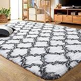 LOCHAS Luxury Velvet Shag Area Rug Modern Indoor Plush Fluffy Rugs, Extra Soft and Comfy Carpet, Geometric Moroccan Rugs for Bedroom Living Room Girls Kids Nursery, 5x8 Feet Grey/White