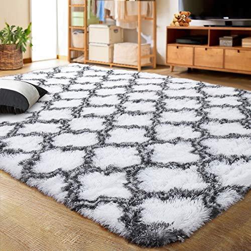 LOCHAS Luxury Velvet Shag Area Rug Modern Indoor Plush Fluffy Rugs, Extra Soft and Comfy Carpet, Geometric Moroccan Rugs for Bedroom Living Room Girls Kids Nursery, 5x8 Feet Grey/White
