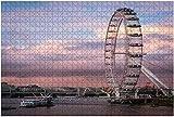 1000 piezas-Londres Reino Unido 02 11 2018 El ojo de Londres como vista desde el puente de Westminster Rompecabezas de madera Rompecabezas educativos para niños de bricolaje Regalo de descompresión p