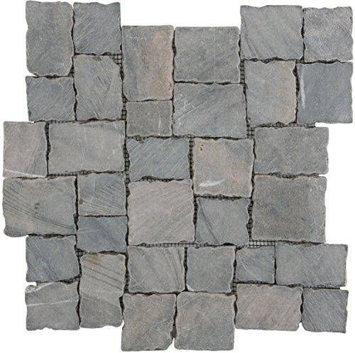 Natuursteenmozaïek tegels grijs multiformaat wand vloer douche toilet keuken | 10 matten | Type: es-65776_f