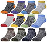 HzCojulo Kids Toddler Half Cushion Low Cut Athletic Ankle Cotton Socks for Boys Girls Size Age 1-15 Years -12 Pairs,Multicoloured,M/Shoe size 10.5-13/5-7Years
