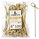 Cocktail Pick Food Appetizer Toothpick – 6 inch Bamboo Fruit Toothpick (100 Pack) – Bamboo Skewers Food Picks – Party Toothpick for Appetizer and Cocktail Drinks