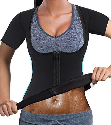 Bingrong Damen Sauna Effekt Anzug Fitness Taille Waist Trainer Neopren Shirt Top für Sport Workout Gewichtsverlust Korsett Heiße Body Shaper (Schwarz, M)