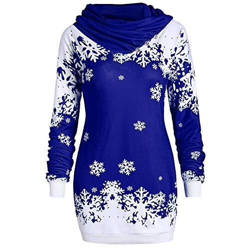 Weihnachten Pullover Damen, ZHANSANFM Frauen christmas Snowflake Drucken Sweatshirt Schalkragen Jumper Weihnachtspulli Langarm Loose Longpullover Kleider Weihnachtspullover (L, Blau)