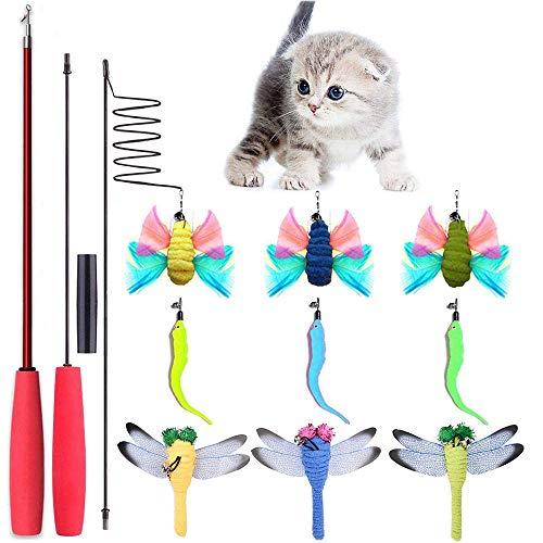 onebarleycorn - Katzen Federspielzeug, Katzenspielzeug Interaktives Spielzeug mit Federn, Katze Spielzeug mit 10 Katzenangel Ersatzfedern