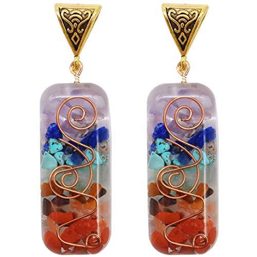Colgante Alineamiento 7 Chakras - YUESEN Collar Colgante Cristales Chips de Piedras caídas Mixto de Resina Collar Orgonite, Regalo de San Valentín