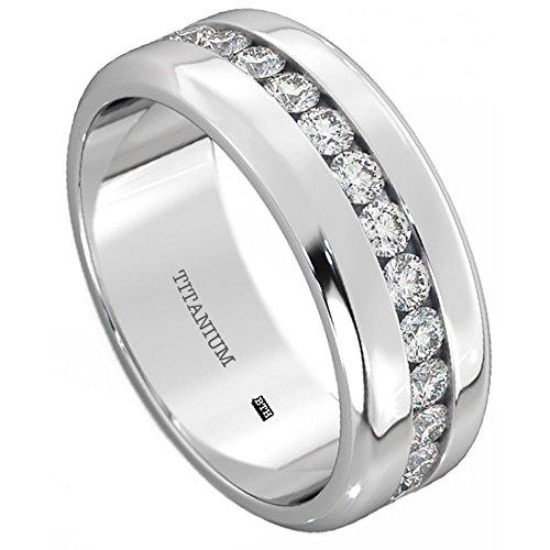 Mens Titanium Ring-8mm Wide Simulated Diamonds Classic Unisex Wedding Engagement Band Ring Z+3