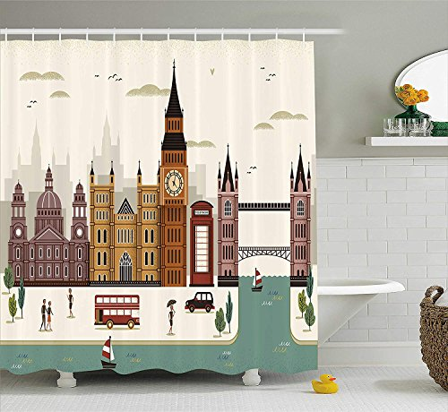 Ambesonne London Shower Curtain, Attractive Travel...