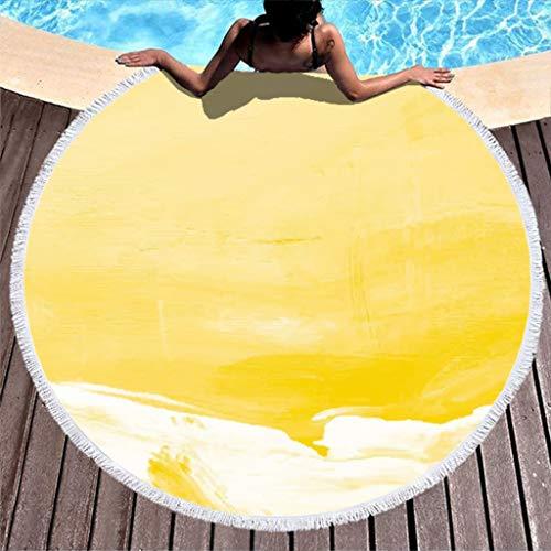 Wmeyiseyiy Toalla de playa redonda grande de secado rápido, toalla de playa, microfibra, toalla de playa, toalla de baño, toalla de picnic, esterilla de yoga, manta para deporte, color blanco, 150 cm