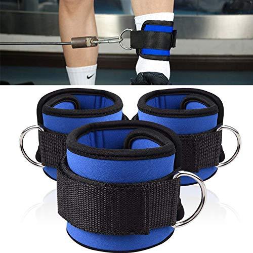 REYOK 3pcs Ankle Strap Fußschlaufen Fitness Klett verstellbar D-Ring Manschette Fitness Bein Gewicht Handgelenk Gürtel Band für Kabel-Maschine Übungen Gym Workout Blau