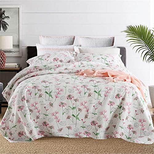 N&G Home Decor Colcha de Cama Bouti 135 0140100% Algodón Floral Rosa 1 * 230 * 250 Edredón cm y 2 Fundas de Almohada 50 * 70 cm Modelo Reversible