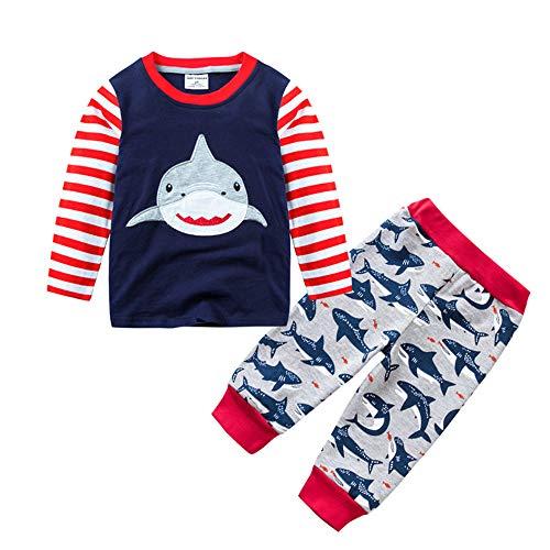 Hellomiko Mignon Bébé Garçons 100% Coton Enfants Chaud Pyjamas Shark Tops + Pantalon pour 0-7 Ans Enfants Casual Tenues