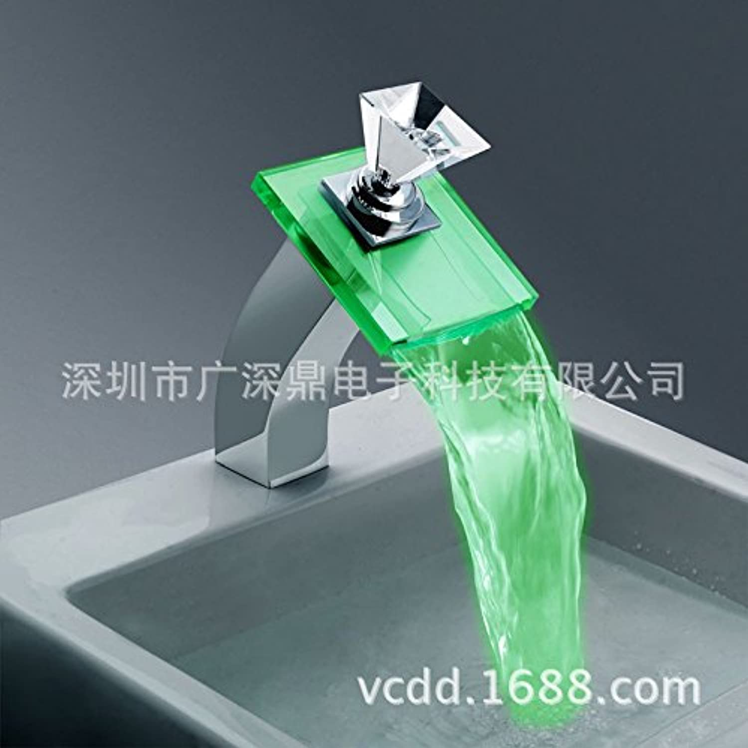 redOOY Waterfall faucet_led waterfall faucet crystal diamond illuminating faucet heightening above counter basin
