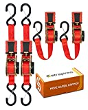 STRAPINNO 4pcs Retractable Ratchet Straps (1-in x 10-ft), Secure Tie-Downs with Rubber-Coated Steel Handles, S-Hooks & Durable Hardware for Daily Use with Breaking Strength - 1,500LBS/680KG Each