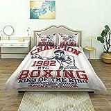Funda nórdica, Vintage Boxing Sport Retro Style Champion King of The Ring Auténtico Divertido, Lujoso Juego de Cama de Microfibra, cómodo y Ligero