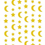 8 Metros Guirnaldas Papel Luna y Estrella Dorado Adorno Eid Mubarak Decoración Colgar Pancarta para Festivo Ramadán Eid Al-Fitr Eid al-Adha Fiesta de Cumpleaños Bodas Bautizo
