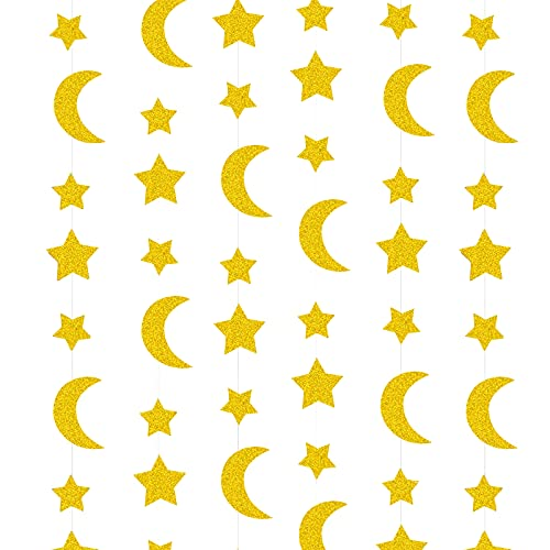 BETESSIN 2 Pcs Glitter Gold Twinkle Stars Crescent Paper Garlands Hanging Decorations Honey Moon Wedding Engagement Favors Baby Shower Birthday Christmas EID Party Table Centerpieces Decorations