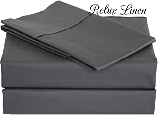 Rolux linen Queen Sleeper Sofa Bed Sheet Set - Elephant Grey Solid 100% Cotton 800 Thread Count Fit Up to 5
