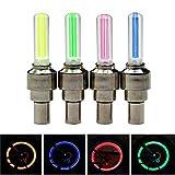 Juego de 4 luces LED para rueda de bicicleta, 4 colores, juego de luces LED para válvula de neumático de bicicleta para rueda delantera y trasera