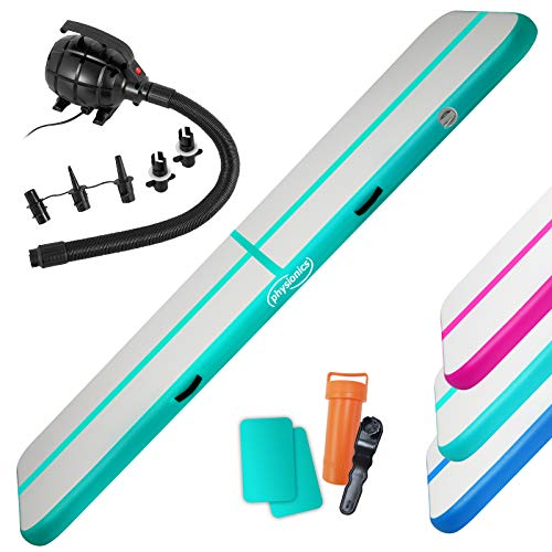 Physionics Air Track - Colchoneta hinchable con bomba de aire eléctrica, PVC, color a elegir, tamaño a elegir: 3, 4, 5, 6, 7 y 8 m, color verde menta, 800 x 100 x 10 cm