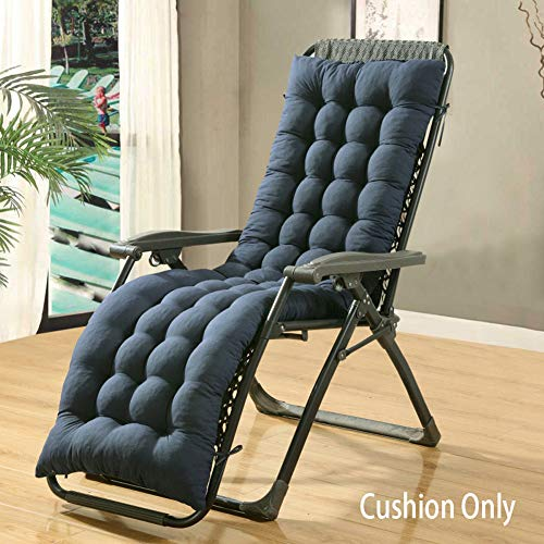 LINGRUI Patio High Back Chair Cushion,Thicken Garden Sun Lounger Cushion Rocking Chair Cushion Recliner Relaxer Seat Pad with Backrest,160x48cm,Navy