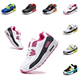 Zapatillas Niños Deportivas Zapatos de Correr Niña Transpirables Caminar Ligeras Antideslizante Hook and Loop Sneakers Cordones Blanco y Rosa-1 29 EU